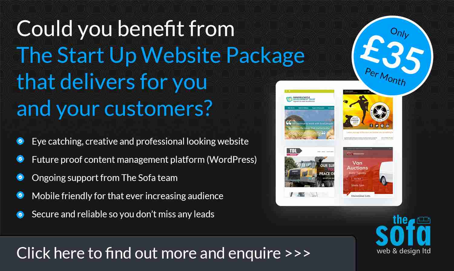 start up website ad for blog